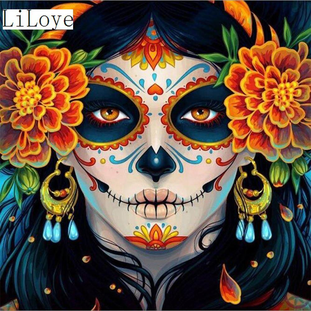 5D Diamond Painting Skull Painted Face Kit