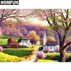 5D Diamond Painting Small Town Church Kit