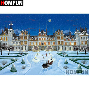5D Diamond Painting Snow at the Mansion Kit