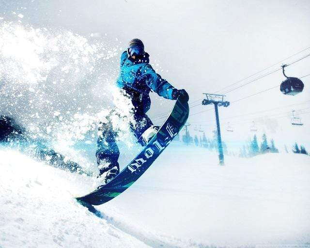 5D Diamond Painting Snow Boarder in Blue Kit