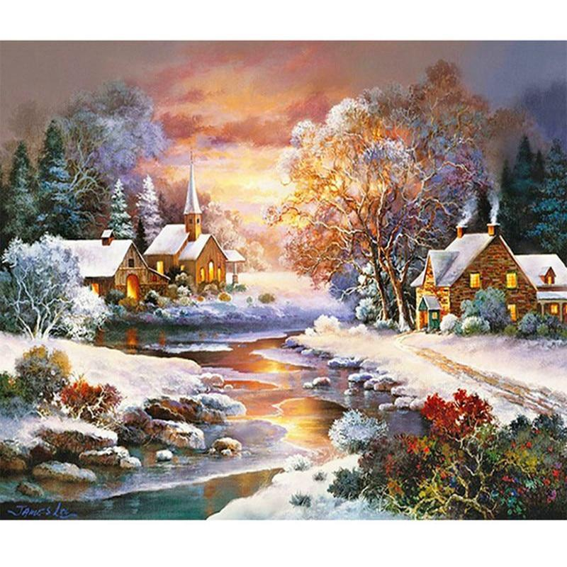 5D Diamond Painting Snow Covered Village Kit