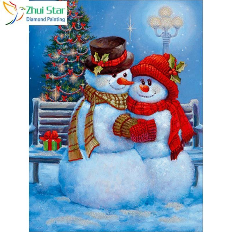 5D Diamond Painting Snow Man Couple Kit