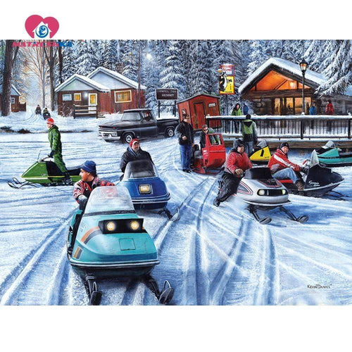 5D Diamond Painting Snow Mobiles Kit