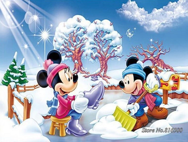 5D Diamond Painting Snow Shovel Mickey Mouse Kit