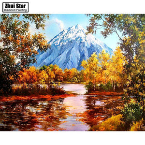 5D Diamond Painting Snow Topped Mountain Kit