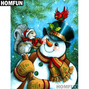 5D Diamond Painting Snowman and Squirrel Kit