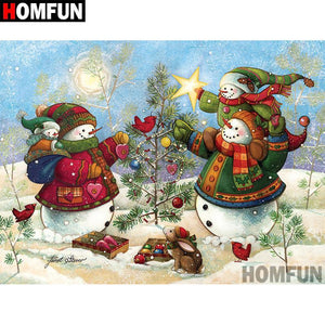 5D Diamond Painting Snowman Tree Trimming Kit