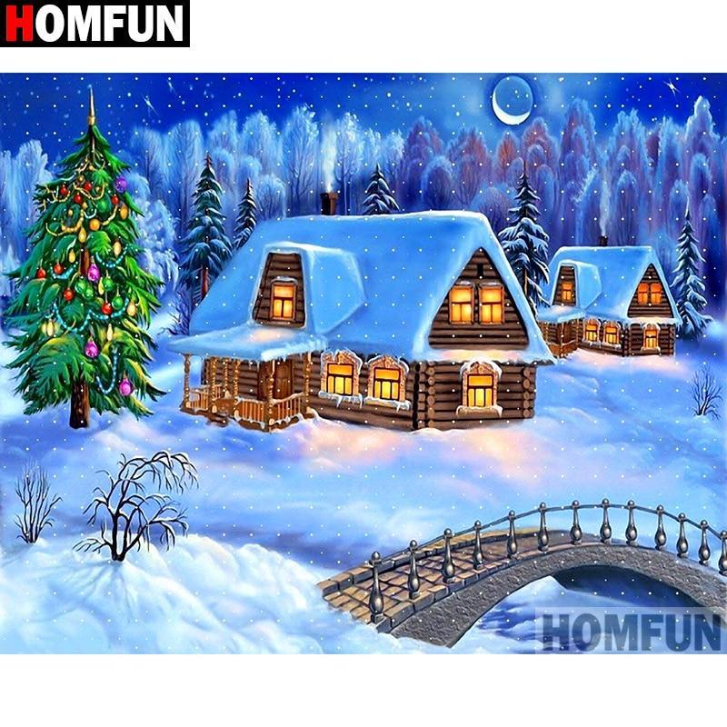 5D Diamond Painting Snowy Holiday Home Kit