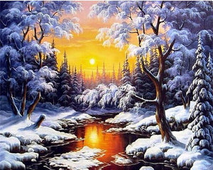 5D Diamond Painting Snowy Sunset Kit
