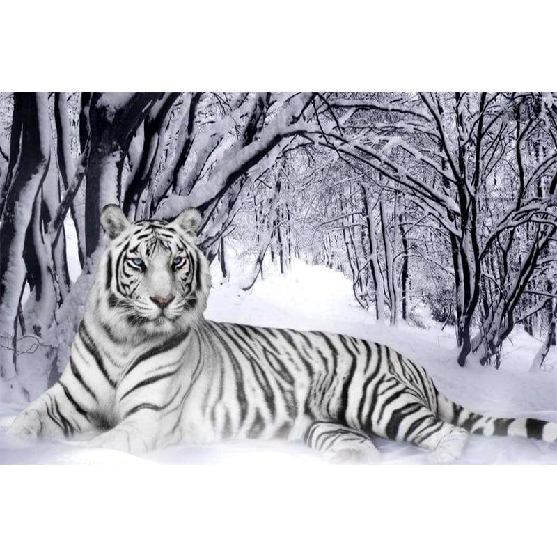 5D Diamond Painting Snowy White Tiger Kit