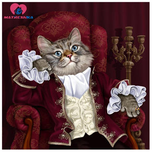 5D Diamond Painting Sophisticated Cat Kit