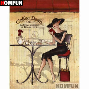 5D Diamond Painting Sophisticated Woman Coffee Shop Kit