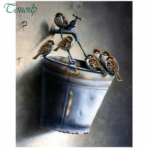 5D Diamond Painting Sparrows on a Bucket Kit