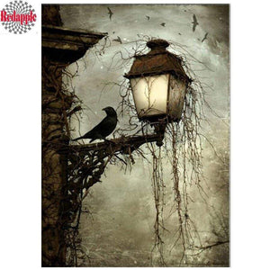 5D Diamond Painting Spooky Street Lamp Kit