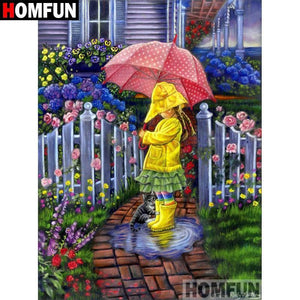 5D Diamond Painting Spring Rain and Umbrellas Kit