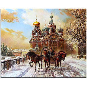 5D Diamond Painting St Petersburg Cathedral Carriage Kit