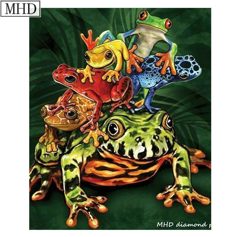 5D Diamond Painting Stack of Colorful Frogs Kit