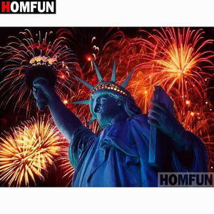 5D Diamond Painting Statue of Liberty Fireworks Kit