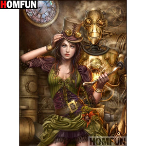5D Diamond Painting Steam Punk Woman Kit