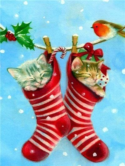 5D Diamond Painting Stocking Kittens Kit