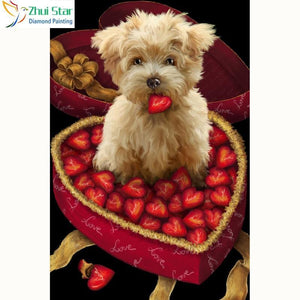 5D Diamond Painting Strawberry Puppy Kit