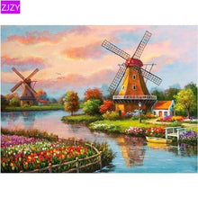 5D Diamond Painting Stream Side Windmill Kit