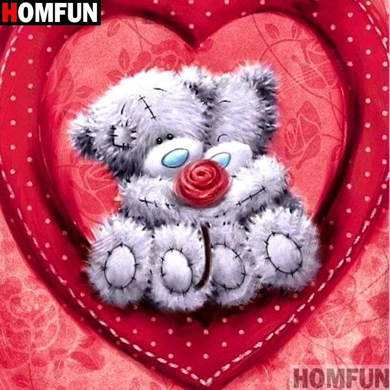 5D Diamond Painting Stuffed Bears Rose and Heart Kit