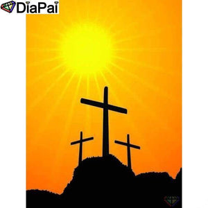5D Diamond Painting Sun Above Three Crosses Kit