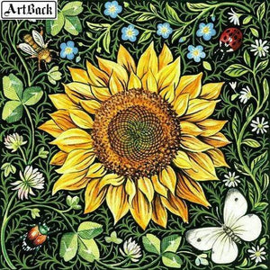 5D Diamond Painting Sunflower and Leaves Kit