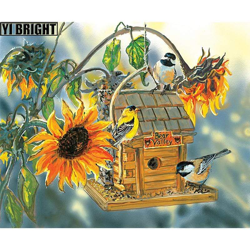 5D Diamond Painting Sunflower Bird House Kit
