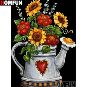 5D Diamond Painting Sunflower Watering Can Kit