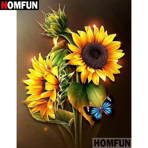 5D Diamond Painting Sunflowers and Blue Butterfly Kit