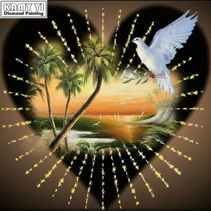 5D Diamond Painting Sunset Heart & Dove Kit