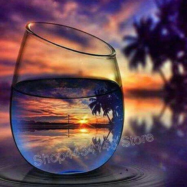5D Diamond Painting Sunset in a glass Kit