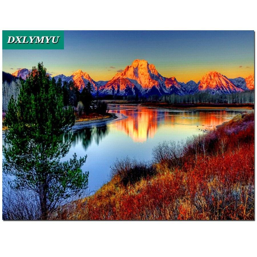 5D Diamond Painting Sunset Mountains Kit