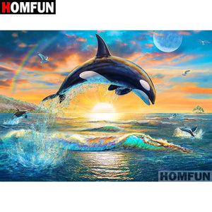 5D Diamond Painting Sunset Orca Kit