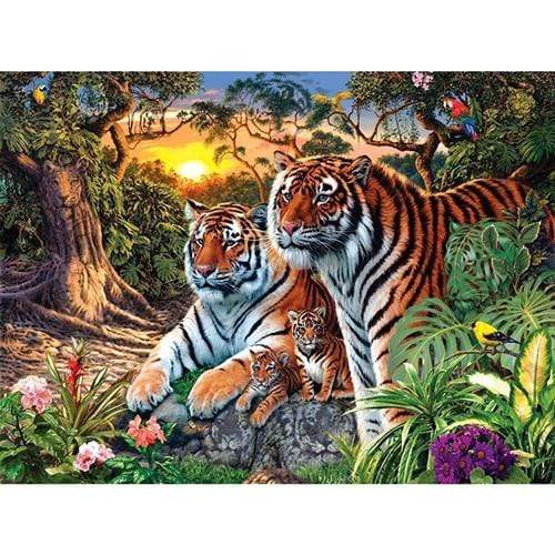 5D Diamond Painting Sunset Tiger Family Kit