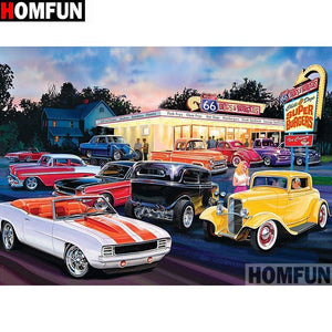 5D Diamond Painting Super Burgers Drive in Kit