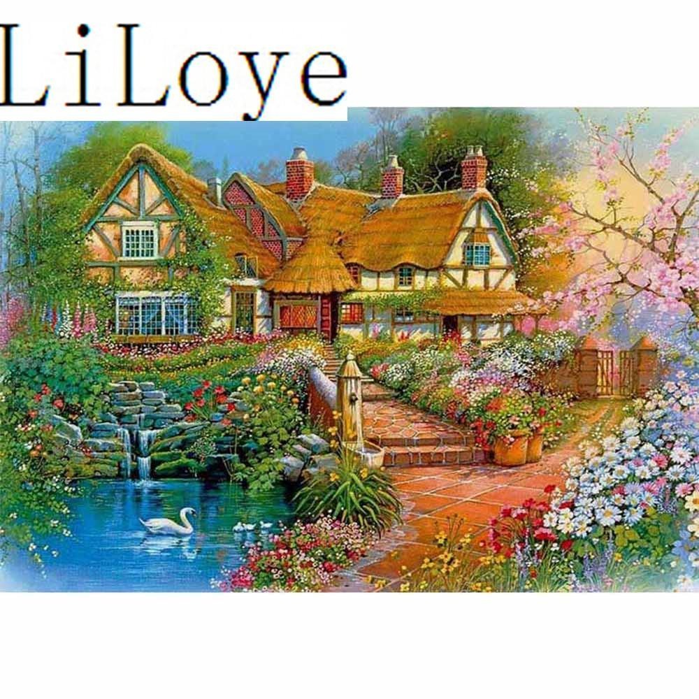 5D Diamond Painting Swan Cottage Kit