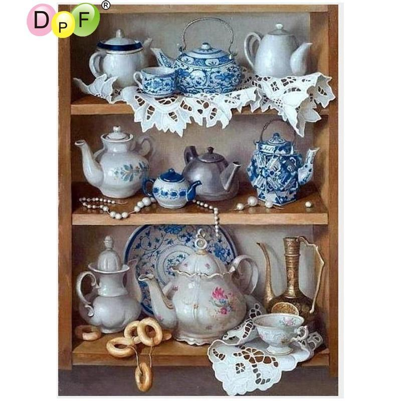 5D Diamond Painting Tea China Cabinet Kit