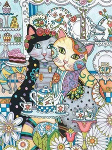 5D Diamond Painting Tea Time Pattern Cats Kit