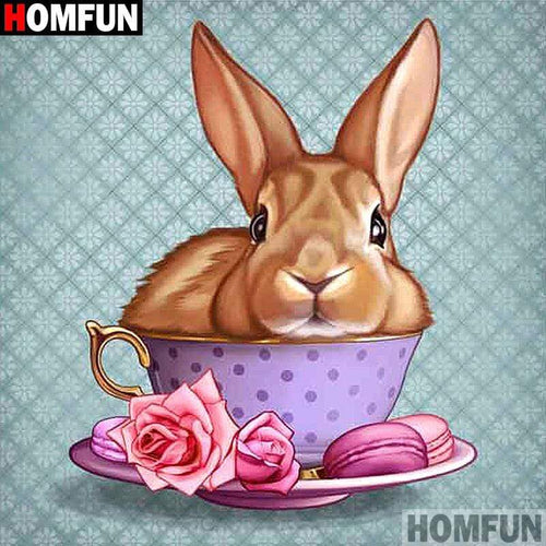 5D Diamond Painting Teacup Bunny Kit