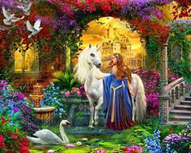 5D Diamond Painting The Unicorn and the Maiden Kit