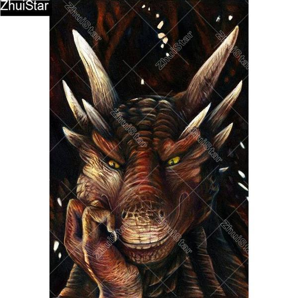 5D Diamond Painting Thinking Dragon Kit
