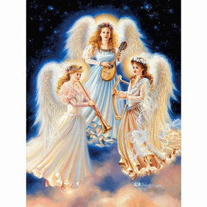 5D Diamond Painting Three Angels Making Music