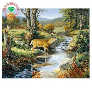5D Diamond Painting Three Bucks Crossing the River Kit