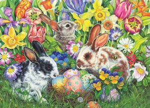 5D Diamond Painting Three Bunnies and Easter Eggs Kit