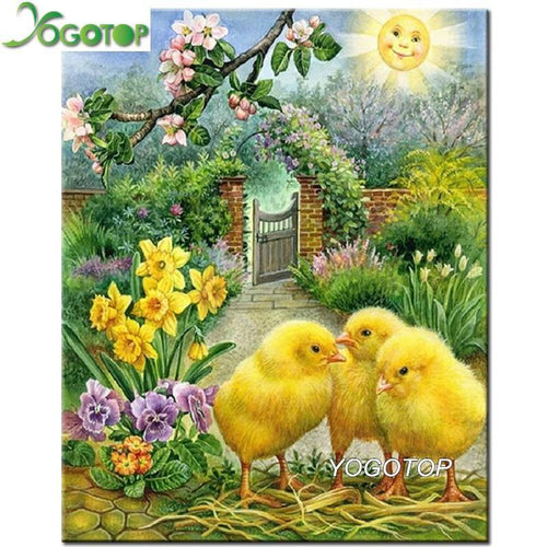 5D Diamond Painting Three Chicks in the Sun Kit