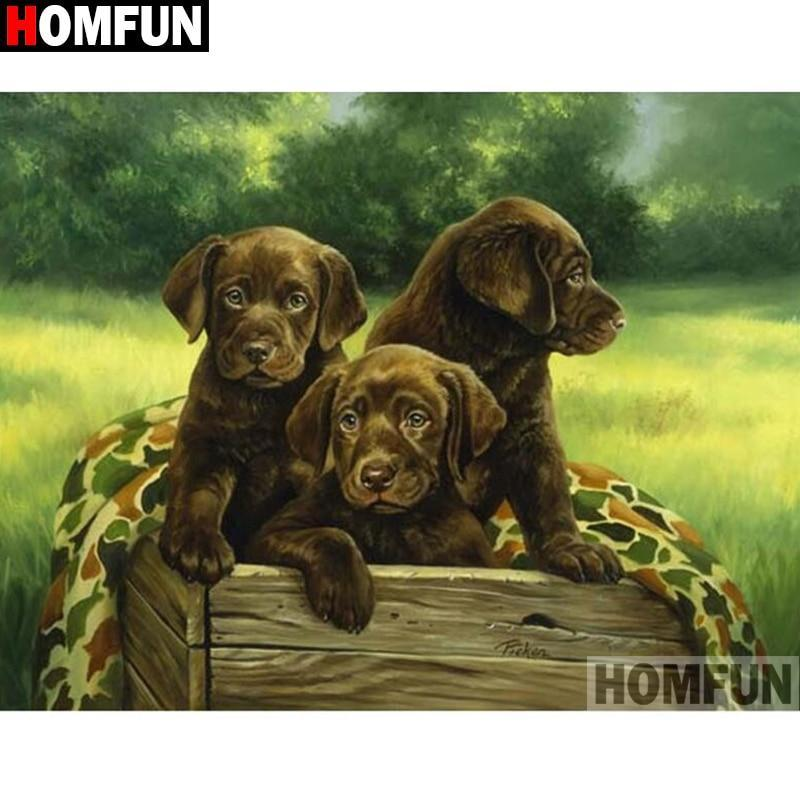5D Diamond Painting Three Chocolate Lab Puppies Kit