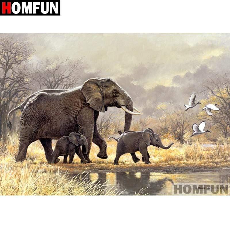 5D Diamond Painting Three Elephants Kit
